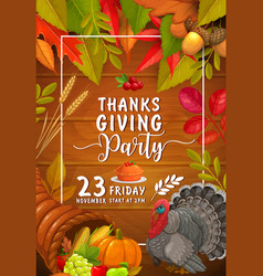 thanks giving party flyer invitation vector image