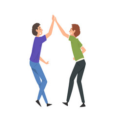 two smiling men giving high five to each other vector image