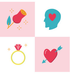 valentine day romantic icon set in flat style vector image