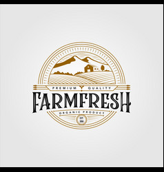 Vintage farm fresh organic product logo design vector