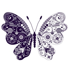 Vintage two-tone butterfly over white vector image