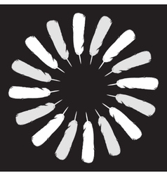 White painted feathers folded into a circle vector image