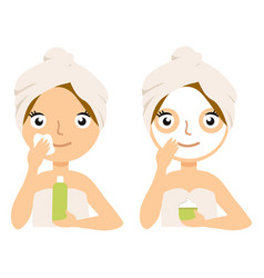 woman making facial mask home spa treatment vector image