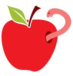 worm in red apple vector image