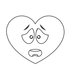 Worried heart cartoon icon vector