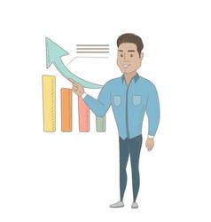 Young hispanic businessman pointing at chart vector