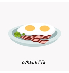 Scrambled eggs with fried bacon on a plate vector image