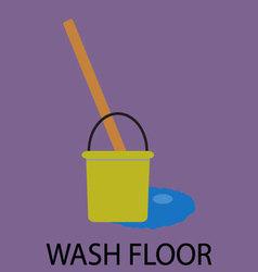 Wash floor icon flat design vector image vector image