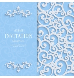 Blue 3d Vintage Invitation Card with Swirl vector image