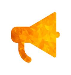 polygon golden icon megaphone vector image