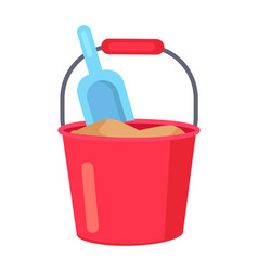 poster of bucket with sand and kids spade vector image vector image