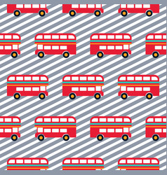 red bus boy striped seamless pattern vector image