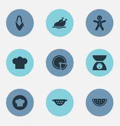 Set of simple kitchen icons vector