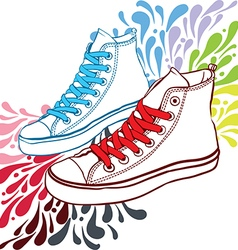 sneakers with red laces and blue vector image vector image