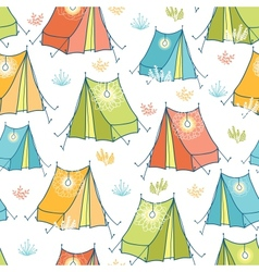 Camp tents seamless pattern background vector image
