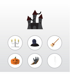 flat icon celebrate set of candlestick tomb vector image