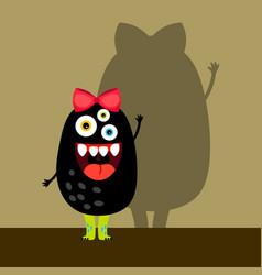 funny black girl monster vector image