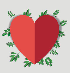 heart with floral decoration vector image