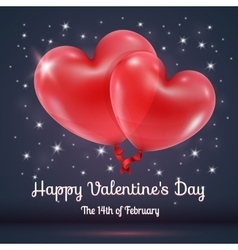 Hearts balloons with valentines day text vector image vector image