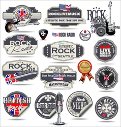 Rock music stamps and labels vector image