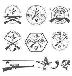 Set of vintage hunting and fishing labels vector image