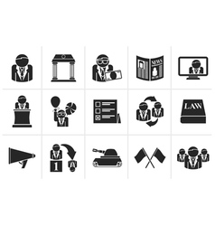 Black Politics election and political party icons vector image