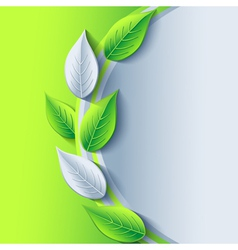 Eco conceptual background with green and gray leaf vector image vector image