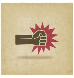 fist punch symbol old background vector image vector image