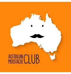 Fun moustache club cartoon Australia map on vector image