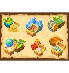 Gaming Islands And Hidden Treasures Set vector image