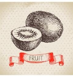 Hand drawn sketch fruit kiwi Eco food background vector image vector image