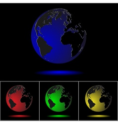 realistic colored globes on black vector image