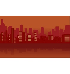 Silhouette of city with red color vector image vector image