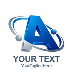 3d abstract letter a logo design template vector