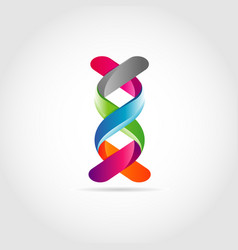 3d dna ribbon logo design symbol vector