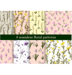 A set floral patterns collection delicate vector