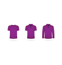 A set of purple t-shirts vector