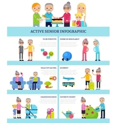 Active Senior People Flat Infographics vector