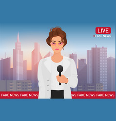 Anchorman pretty woman on city background media vector