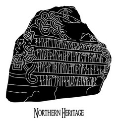 ancient runestone with engraved scandinavian vector image