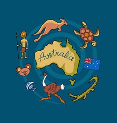 Australian doodle set vector