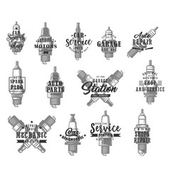 automobile spark plugs types isolated icons vector image