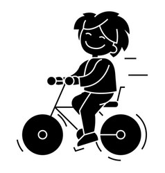 Bicycle boy riding icon vector