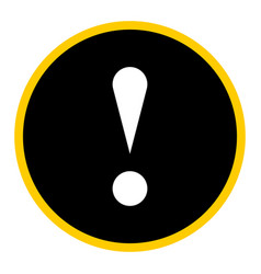 Black circle exclamation mark icon warning sign vector