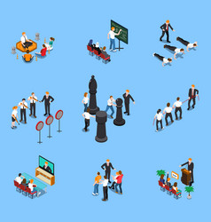 Business coaching isometric set vector