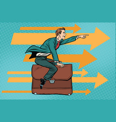 Businessman flying on a leather business briefcase vector