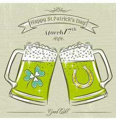 Card for St Patricks Day with beer mug vector image