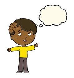 Cartoon boy with growth on head with thought vector