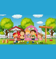 Children with their pet at yard vector