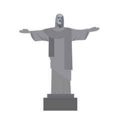 Christ the redeemer icon flat style rio de vector
